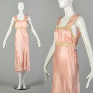 Small 1930s Pink Nightgown Old Hollywood Glamour Vintage Lingerie
