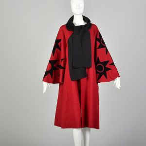 OSFM 1980s Osgood Smuk Red Wool Cape Coat Leather Appliqué
