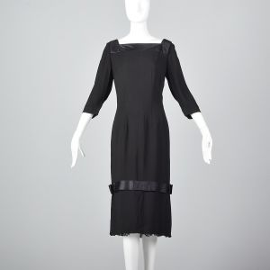 XL 1960s Howard Greer Little Black Dress Lace Hem