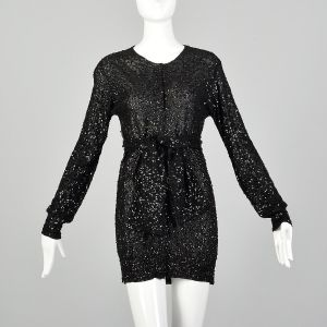 XS 1990s Black Tunic Top Sequin Sheer Long Sleeve Blouse Mini Dress