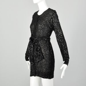 XS 1990s Black Tunic Top Sequin Sheer Long Sleeve Blouse Mini Dress - Fashionconstellate.com