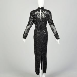 Medium 1980s D'ore Dress Black Silk Sexy Beaded Sheer Long Sleeve  - Fashionconstellate.com