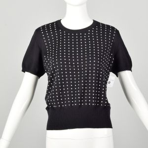 Large Thrashed Damaged Escada Sweater Black Pearl front Short Sleeve As-Is Repurpose
