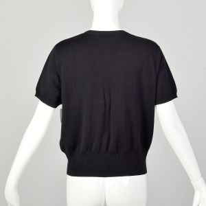 Large Thrashed Damaged Escada Sweater Black Pearl front Short Sleeve As-Is Repurpose - Fashionconstellate.com