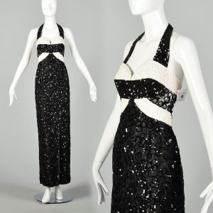 Medium Mike Benet Black Halter Dress Formal White Evening Gown