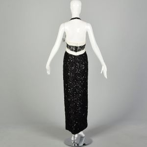 Medium Mike Benet Black Halter Dress Formal White Evening Gown  - Fashionconstellate.com