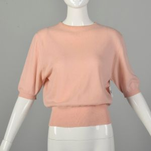 Small 1950s Sweater Peach Cashmere Soft Cozy Short Sleeve