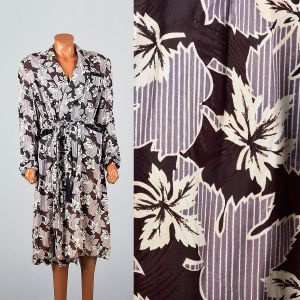 XXL 1940s Mens Robe Leaf Print Loungewear Shawl Collar Fringe Belt Smoking House Coat