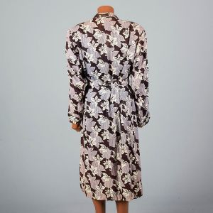 XXL 1940s Mens Robe Leaf Print Loungewear Shawl Collar Fringe Belt Smoking House Coat - Fashionconstellate.com