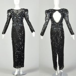 Medium 1980s Bellissima Dress Black Silk Beaded Sequin Sheer Formal Keyhole Back Evening Gown