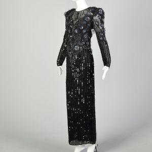 Medium 1980s Bellissima Dress Black Silk Beaded Sequin Sheer Formal Keyhole Back Evening Gown - Fashionconstellate.com