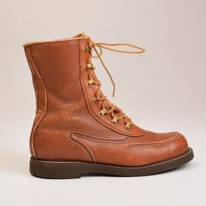 Size 9E 1960s Deadstock Powr House Workwear Work Boots Brown Leather Heavy Duty