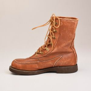 Size 9E 1960s Deadstock Powr House Workwear Work Boots Brown Leather Heavy Duty - Fashionconstellate.com