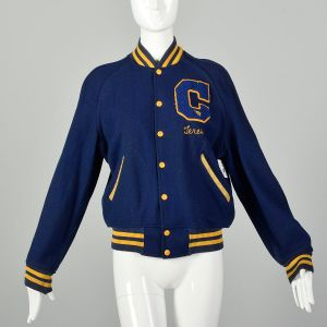 Small 1960s Blue Letter Jacket Gold Teresa Chainstitch Ribbed Knit Trim