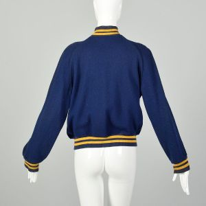 Small 1960s Blue Letter Jacket Gold Teresa Chainstitch Ribbed Knit Trim  - Fashionconstellate.com