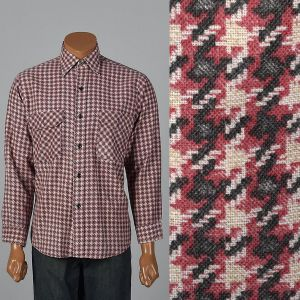 XL 1960s Mens Shirt Pink Houndstooth Black Plaid Long Sleeve Collared Button Down