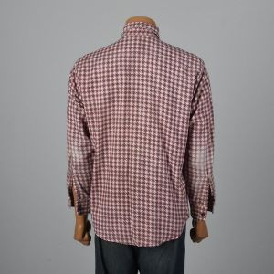 XL 1960s Mens Shirt Pink Houndstooth Black Plaid Long Sleeve Collared Button Down - Fashionconstellate.com