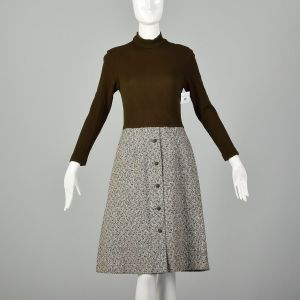XS 1970s Brown Long Sleeve Dress Ribbed Knit Mock Neck Modest Tweed Skirt