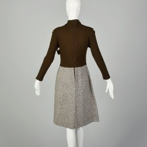 XS 1970s Brown Long Sleeve Dress Ribbed Knit Mock Neck Modest Tweed Skirt - Fashionconstellate.com
