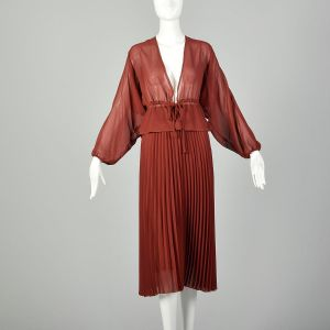 Small 1970s Rust Separates Pleated Skirt Sheer Blouse Deep V Neckline Low Cut Bohemian Set
