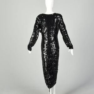 Large Black Sequin Sweater Dress Evening Cocktail Modest Formal Long Sleeve  - Fashionconstellate.com