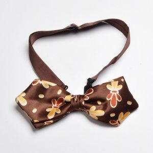 1940s Brown Floral Bow Tie