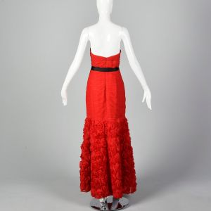 Small Strapless Red Long Gown Rosette Skirt Sweetheart Neck Formal Prom Dress - Fashionconstellate.com