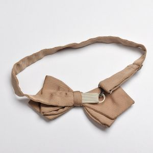 1960s Pre-Tied Tan Bow Tie Fully Adjustable - Fashionconstellate.com