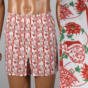 Large 1960s Mens Santa Novelty Print Boxer Shorts Balloon Seat Christmas Holiday Underwear
