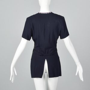 Small 1940s Navy Beaded Top Blue Rayon Peplum Blouse Short Sleeve Beaded Yolk Neckline - Fashionconstellate.com