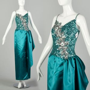 Small 1980s Mike Benet Teal Sequin Maxi Satin Formal Gown Sleeveless