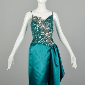 Small 1980s Mike Benet Teal Sequin Maxi Satin Formal Gown Sleeveless  - Fashionconstellate.com