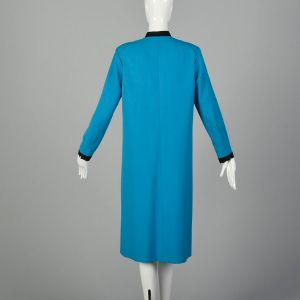 Large 1980s Teal Dress Blue Long Sleeve - Fashionconstellate.com