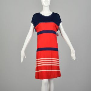 Small Jason Wu for Target Red Striped Dress Lightweight Casual Blue Jersey Shift
