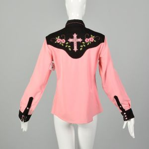 Medium 1990s Panhandle Slim Pink Western Snap Shirt Cross Embroidery  - Fashionconstellate.com