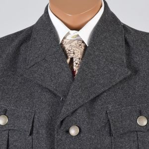 Large Mens 1960s Jacket Gray Wool German Military Bomber Coat Red Ribbed Knit Waistband and Cuffs - Fashionconstellate.com