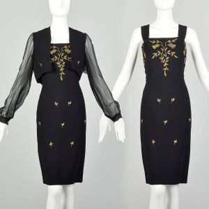Medium 1960s Black 2pc Dress and Jacket Set with Gold Embroidery