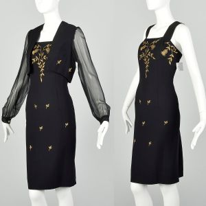 Medium 1960s Black 2pc Dress and Jacket Set with Gold Embroidery  - Fashionconstellate.com