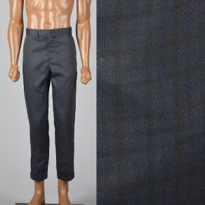 Small Mens 1970s Pants Gray Plaid Flat Front Tampered Leg Cuffed Hem Trousers