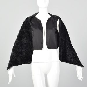 Medium 1980s Comme des Garcons Vest Black Faux Fur Wrap Cape Cozy Avant Garde - Fashionconstellate.com