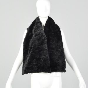 Medium 1980s Comme des Garcons Vest Black Faux Fur Wrap Cape Cozy Avant Garde