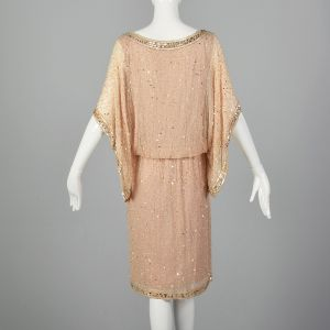 Medium 1990s Blush Pink Dress Beaded Sequin Loose Handkerchief Sleeves - Fashionconstellate.com