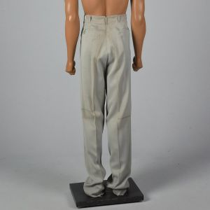 Medium 1950s Mens Pants Gray Gabardine Hollywood Waist Pleat Front Dropped Belt Loops Trousers - Fashionconstellate.com