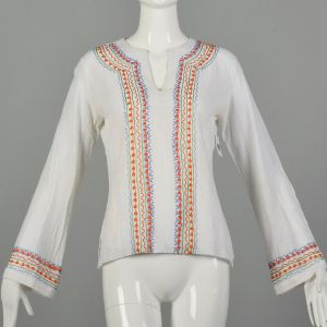 Small 1970s India Gauze Tunic Top White Embroidered Long Sleeve Cotton Shirt
