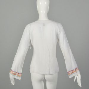 Small 1970s India Gauze Tunic Top White Embroidered Long Sleeve Cotton Shirt - Fashionconstellate.com