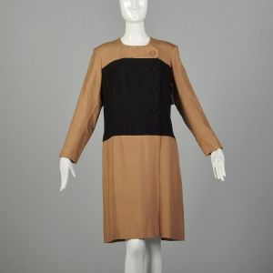 XXL 1980s Brown Dress Black Minimalist Color Block Long Sleeves