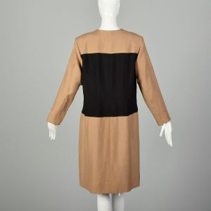 XXL 1980s Brown Dress Black Minimalist Color Block Long Sleeves - Fashionconstellate.com