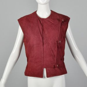Medium 1980s Claudio La Viola Red Suede Vest Asymmetrical Italian Leather Buckle Detail