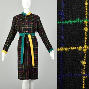 Large Plaid Dress 1980s Colorful Boucle Long Sleeve Gold Button