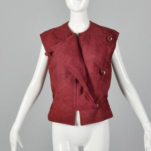 Medium 1980s Claudio La Viola Red Suede Vest Asymmetrical Italian Leather Buckle Detail  - Fashionconstellate.com